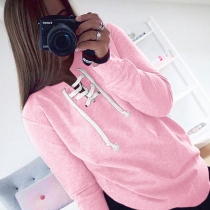 Long Sleeve Solid O-neck T-shirt Pink