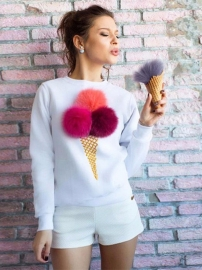 Women Sweatshirt Plush Ball Long Sleeve Pullovers White
