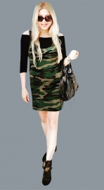 Women's Army Camouflage Print Long Sleeve Bodycon Dress