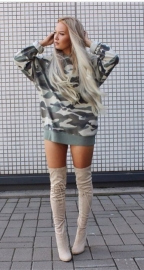Womens Camouflage Printing Hooded Pullover Blouse