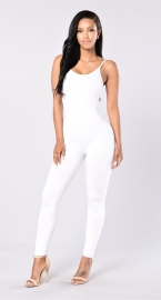 Women Spaghetti Strap Bodycon Tank One Piece Jumpsuits White