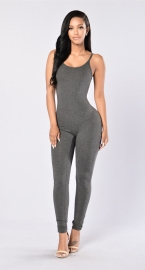 Women Spaghetti Strap Bodycon Tank One Piece Jumpsuits Grey
