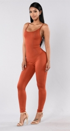 Women Spaghetti Strap Bodycon Tank One Piece Jumpsuits Orange