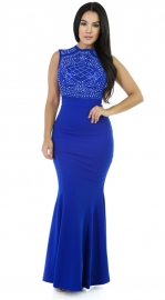 Women Sleeveless Rhinestone Mesh Maxi Bodycon Dress Blue