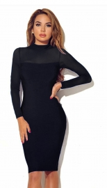 Women Long Sleeve Transparent Sleeve Bodycon Dress Black
