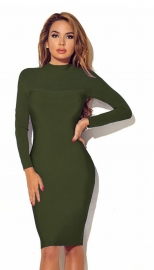 Women Long Sleeve Transparent Sleeve Bodycon Dress Army Green