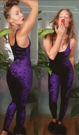 Women's Sleeveless Strapy Velvet Bodycon Jumpsuit Romper Purple
