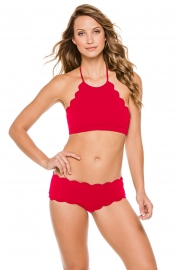 Women Sexy High Neck Scallop Bikini Set Two Piece Halter Top Swimsuit Red