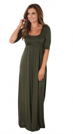 Vintage Elegant Womens Solid O-neck Maxi Party Long Dress