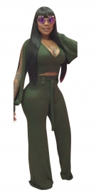 Women Sexy V-Neck Long Sleeve Jumpsuit Army Green