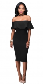 Women Ruffle Slash Neck Sexy Off Shoulder Bodycon Midi Dress Black