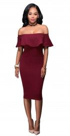 Women Ruffle Slash Neck Sexy Off Shoulder Bodycon Midi Dress Red