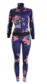Women's Hawaii Coconut Printing 2 Piece Jacket Suit Dark Blue