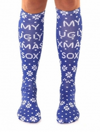 3D Print Patterns Knee Socks Knee High Socks Cute Blue