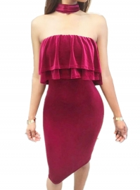 Women's Ruffle Off The Shoulder Bodycon Midi Dress Velvet Club Dress Rose