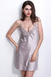 Women's Sexy Sling V-neck Lace Trim Satin Chemises Slip Sleepwear Light Grey