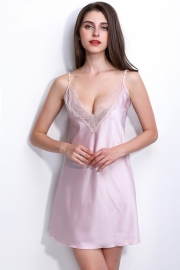 Women's Sexy Sling V-neck Lace Trim Satin Chemises Slip Sleepwear Light Pink