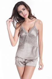 Women Lingerie Sleepwear Satin Pajama Sexy Camisole Short Sets Light Grey