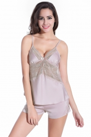 Women Lingerie Sleepwear Satin Pajama Sexy Camisole Short Sets Light Pink