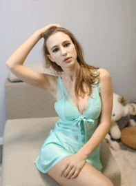Women's Sexy Lingerie Enchanting Satin Chemise Strap Nightgowns Sleepshirts Light Blue
