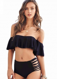 2017 Women Two Pieces Clear Sexy Ruffled Off-shoulder Bikini Black