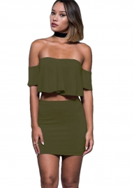 2017 Women's Halter Off Shoulder Two Piece Dress Outfit Army Green