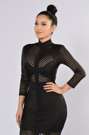 2017 Women Striped Long Sleeve Caged See Through Lined Bodycon Party Club Dress Black
