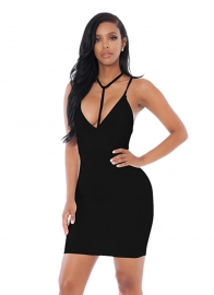 2017 Women's Sexy Strappy V-Neck Backless Bodycon Cocktail Party Dress Black