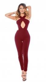 2017 Women's Sexy Lace Up Hollow Out Bodycon Jumpsuit Rompers Pants Clubwear Red
