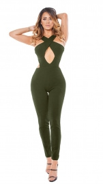 2017 Women's Sexy Lace Up Hollow Out Bodycon Jumpsuit Rompers Pants Clubwear Army Green