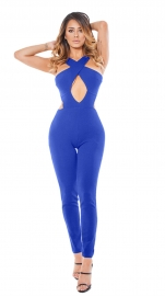 2017 Women's Sexy Lace Up Hollow Out Bodycon Jumpsuit Rompers Pants Clubwear Blue