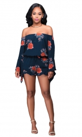 2017 Women Sexy Floral Print Off Shoulder Long Sleeve Clubwear Short Jumpsuit Romper