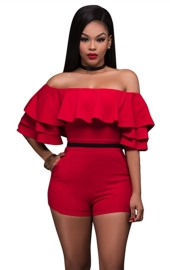 2017 Fashion Sexy Ruffle Off Shoulder One Piece Short Jumpsuit Rompers Red