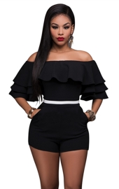 Fashion Sexy Ruffle Off Shoulder One Piece Short Jumpsuit Rompers Black