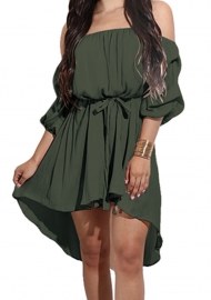 2017 Women's Off Shoulder Half Sleeve Ruffle Mini Dress Army Green