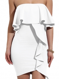 2017 Womens Sexy Off Shoulder Ruffles Wrapped Bodycon Party Mini Club Dress White