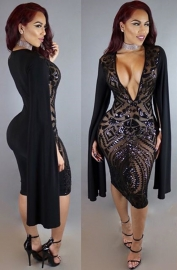 Seductive Women V-neck Sequins Patchwork Long Slit Batwing Sleeves Bodycon Dress