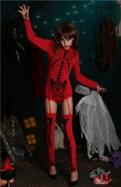 New Arrivals Vampire Long Sleeves One Piece With Stockings Jumpsuit for Halloween Costumes Red With Black Horrific Golgo