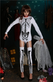 New Arrivals Vampire Long Sleeves One Piece With Stockings Jumpsuit for Halloween Costumes White With Black Horrific Golgo