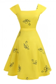 Women Yellow Print Slim Waist Party Dress