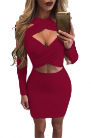 Sexy hollowed-out solid color bandage long-sleeved  dress