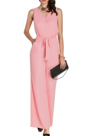 Summer sexy leak back pure color temperament jumpsuit