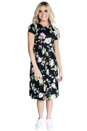 Summer sweet and elegant floral print short-sleeved dress