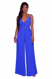 Summer condole with pure color wide leg repair a body of trousers