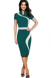 The retro-inspired qipao cheongsam with a short sleeve elastic package hip and knee pencil dress
