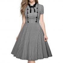 Fashion retro black and white plaid short-sleeved doll brought big bowknot clasp bitter fleabane bitter fleabane princess dress