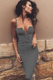 Condole belt dress sexy deep V
