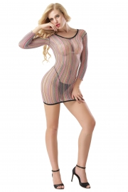 Stripe Fishnet Chemise Dress