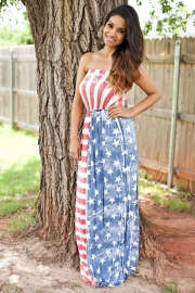 Sexy Strapless Flag Dress
