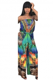Print Strapless Casual Jumpsuit